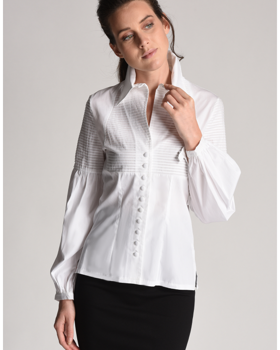 Blouse Ambre plain white with pleated effect