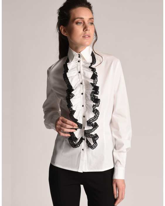 Blouse Sara with a Lace-trimmed and frilled bib